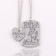 Best gift heart love There is girl she stole my heart She call me grandma mommy grandpa daddy nana Necklace Pendant women set