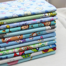 12Pcs/Lot,Blue Print Cartoon Cotton Fabric for Boy Kid's Bedding,Dress,Sewing,Patchwork,Quilt, Doll Cloth,Tilda,Tissue  40x50cm