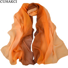 CUHAKCI 2017 New Colorful Chiffon Scarf Women Scarves High Quality Gradient Colors Female Orange Red Blue Green Scarves Shawl(China)