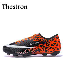 Thestron 2016 Football Turf Cleats Black/Orange Soccer Shoes For Men Cheap Outdoor Football Shoes Men Sport Trainers