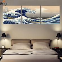 Fashion seascape landscape canvas painting 3 panels traditional art scenery picture great Wave off Kanagawa Katsushika Hokusai
