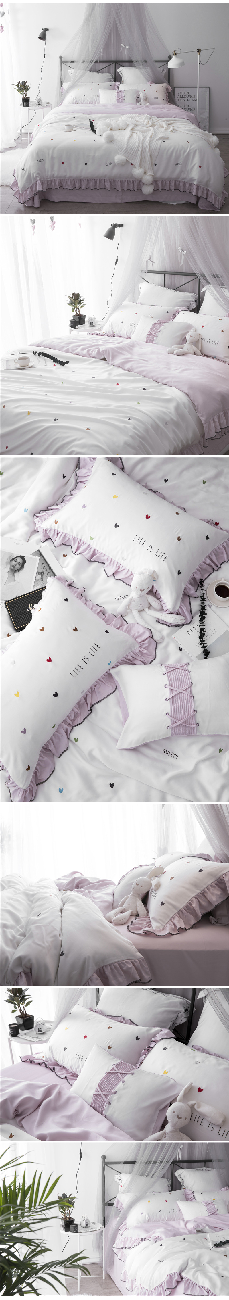 2018 comforter bedding sets 60s tencel coon coon bed sheets small fresh embroidery wedding bed cover housse de couee 4