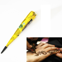 1 Piece Black Color Indian Henna Paste Cone Beauty Women Mehndi Finger Body Cream Paint DIY Temporary Drawing for Tattoo Stencil(China)