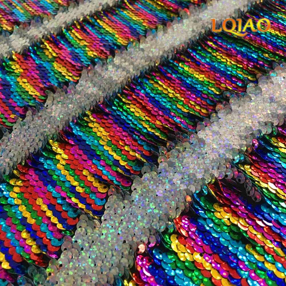 9cf0f9a74ccd34 High Quality Rainbow-Laser Silver Reversible Sequin Fabric Mermaid Fish  Scale Flip Up Sequin Fabric