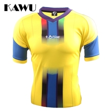 KAWU Spain Brazil custom made Survetement Football 2017 Sport Running T Shirt Quick-drying Short Sleeve Sportwear C17003