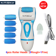 BLUE USB Rechargeable FOOT CARE TOOL file Callous PEDICURE Electric Exfoliator Callus Remover file +6 Scholls KIMISKY Roller Hea