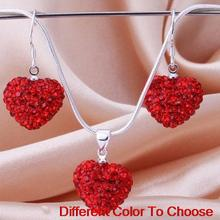 rhinestone multicolor ab clay heart Silver Plated snake chain Crystal Shamballa set earrings Necklace For Women men gift lot.