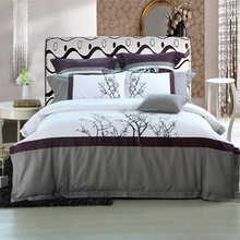 IvaRose Embroidered tree bedding set Queen size 4/6pcs Bedlinen pure Egyptian cotton adult Quilt cover sets bedsheet