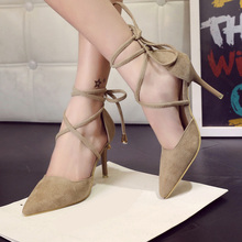 2016 Spring Summer Style Pumps Gladiator Women Sandals Ankle Strap High Heels Shoes Shallow Cross-tied Pointed Toe Lace Up Pump