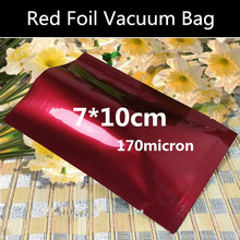 Wholesale 200pcs 7x10cm (2.8'' * 3.9'') 170mic Aluminizing 3-side Red Foil Vacuum Bag Foil Open Top Storage Bag