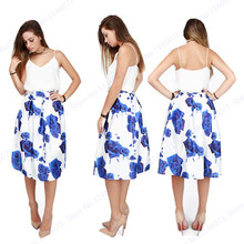 BLUELOVER Blue Rose Printing Midi Skirt Women High Waist A-line Flared Skater Pleated Knee Length Ladies Tennis Skirts