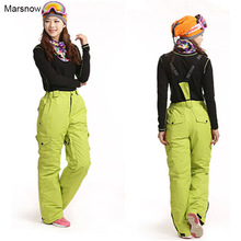 Marsnow Brand Windproof Waterproof Breathable Double Layer Winter Women Ski Snow Lady Trousers Thicken Ski Snowboarding Pants