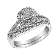 Customize Jewelry 0.6ct simulate  Diamond Halo Ring In 9K White Gold & Micro Pave Men's Ring With 2mm Wide