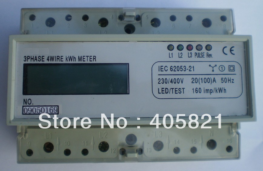 High accuracy LCD three phase electronic watt-hour meter, power meter, Din-rail meter, KWH meter<br>