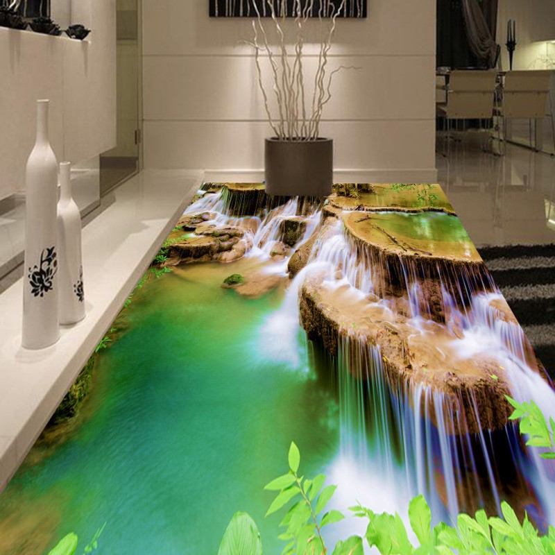 Free Shipping Falls waterfall floor painting background wall waterproof non-slip bedroom bathroom living room flooring mural<br><br>Aliexpress