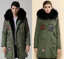 UK Beading Design Army Green Coat Winter Thick Warm Rex Rabbit Fur Black Inside Long Jacket Real Raccoon Fur Hooded Unisex Parka(China)