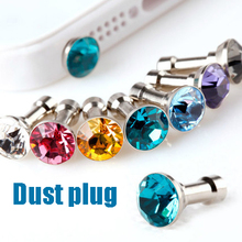 Luxury 10pcs 3.5mm Bling Diamond Earphone Jack Anti Dust Plug Cap Stopper For iphone For Huawei colorful Crystal Dust Plug