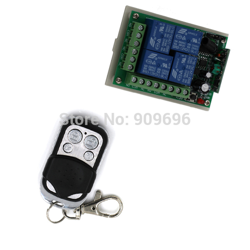 DC 12V 4CH Channel Wireless Remote Control Radio Switch 315 / 433Mhz Transmitter Receiver 200m High Sensitivity<br><br>Aliexpress