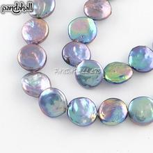 Natural Keshi Pearl Bead Strands, Flat Round, DarkSlateBlue, 11~12x4~5mm, Hole: 0.8mm; about 30pcs/strand, 14.8""