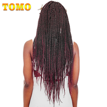 "TOMO Hair 30Roots 14"" 16"" 18"" 20"" 22"" Synthetic Jumpy Crochet Braids Ombre Kanekalon Senegalese Twist Braiding Hair Extensions(China)"