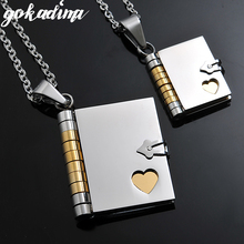 "Free Shipping,""Love Letter"" Book Pendants COUPLE NECKLACES, Korean Stainless Steel Lovers Jewelry christmas Gift Wholesale WP264(China)"