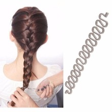 Women Fashion Hair Style Clip Stick Bun Make Twist Braid Tool Lock Weave gray(China)