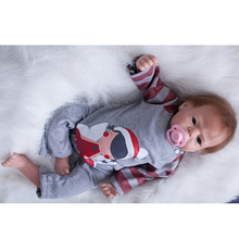 Buy Lifelike Cloth Body Reborn Dolls Baby 22 Inch 55 cm Realistic Newborn Silicone Babies Magnetic Mouth Kids Best Playmate