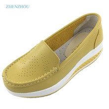 2016 spring genuine leather mother casual casual  shoes swing shoes white nurse shoes slip-resistant wedges plus size platform