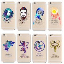 Watercolor art Game Of Thrones jon snow Soft Clear Phone Case Fundas Coque For iPhone 8 7 7S 7Plus 6 6S 6Plus 5 5S Se Cover Capa