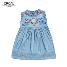 CROAL CHERIE Fashion Casual Embroidery Girls Dresses For Party Luxury Denim  Jeans Kids Vest Dress Sleeveless Baby Dresses 6f49a75caba2