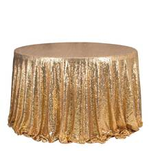 1PCS Gold Sequin Embroidery Tablecloth For Wedding Hotel Party Sparkling Table Cloth Round Table Cover Decoration Table Overlay