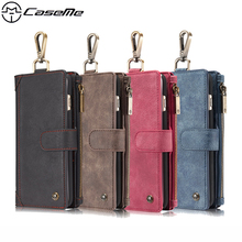For iPhone 6 Plus Cover 6s Plus Leather Case Metal Buckle Zipper Wallet Card Magnetic Phone Back Cover for Apple iPhone6 6Plus