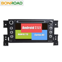 "Bonroad 7""2Din Android 7.1.2 Car dvd For grand vitara 2007-2013 Stereo gps navigation car radio USB audio video player BT/Wifi/3(China)"
