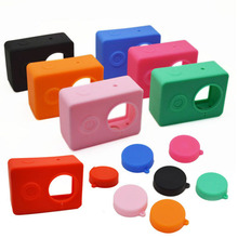 Camera Accessories Housing Protective Waterproof Silicone Case Soft Protector Cover set 7 Colors for Go Pro Hero 4 3 Eken H9