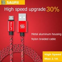 Original Saufii Short 1 2 M Nylon fast charging Metal Micro USB Cable iPhone 5 5S SE 6 6s Plus 5s iPadmini / Samsung / HTC