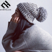 Fashion Pom Pom Hat For Women Grils Skullies Women's Beanies Warm Knitted Hat Female Winter Cap Brand Women Beanie Hat Wholesale(China)
