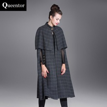 QUEENTOR Original 2017 Autumn and Winter Stand Collar Shawl Long Plaid Woolen Cloak Coat Women Wholesale(China)