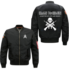 spring men's jacket Iron Maiden A Matter Of Life And Death pattern print leisure collar code Air Force pilots windbreaker coat,(China)