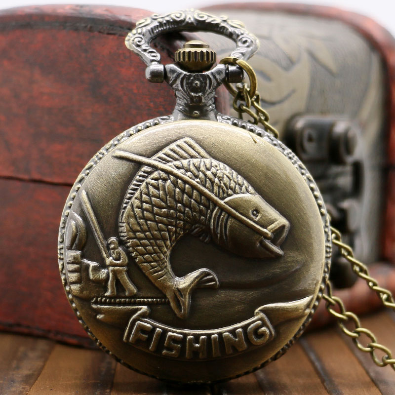 Bronze Fishing Angling Quartz Pocket Watch Necklace Pendant Mens Gift P108<br><br>Aliexpress