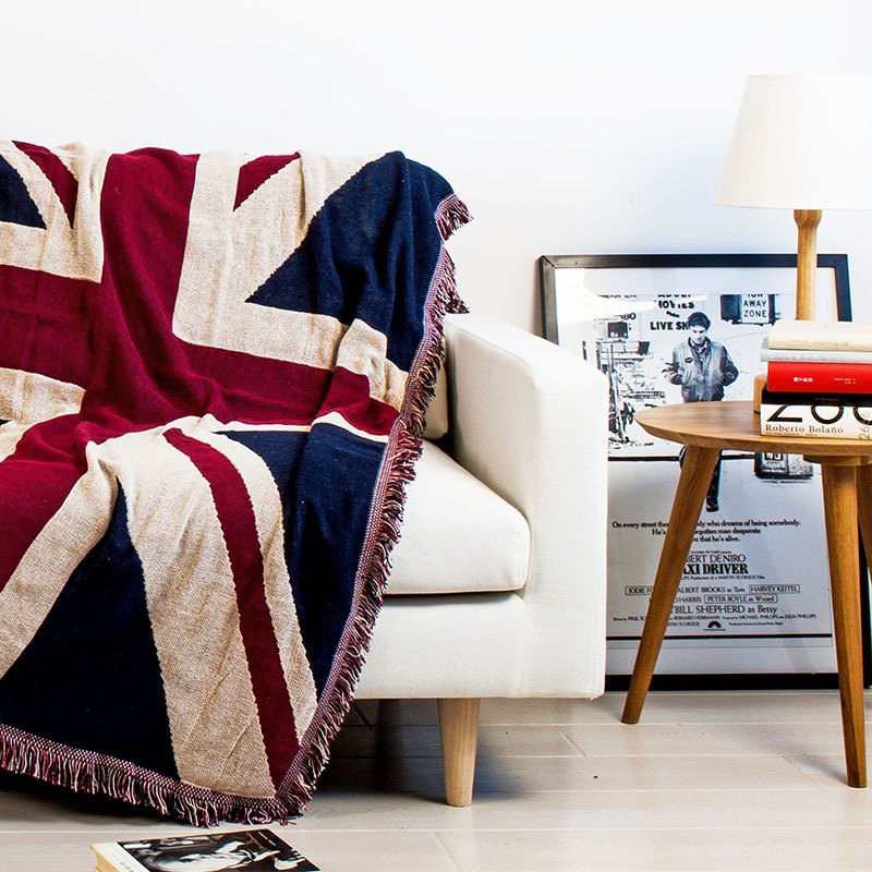 Tassels Union Jack Star-Spangled Banner Soft Sofa Blanket Throws Rugs Sofa Cover Chair Cover Table cover Home Decor 125x150cm(China)