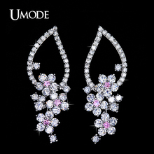UMODE New 2016 Elegant Female Long Big Dangle Earrings Pink Centre Sakura Cubic Zirconia Cluster Drop Earrings for Women UE0114