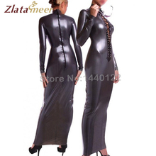 Buy Sexy Latex Women Dress Long Sleeves Female Dresses Rubber Latex Fetish Clothing Front Ties Lacing B-LD082