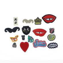 1PCS Lipstick Embroidered Iron On Patch Cartoon Stickers Embroidered Applique Handbag Patches For Clothing