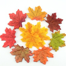 100Pcs Artificial Silk Maple Leaves For Home Wedding Party Decoration Scrapbooking Craft Multicolor Fall Vivid Fake Flower Leaf(China)