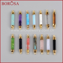 BOROSA New Arrival Gold Color Multi-Kind Stones Point Druzy Connector Drusy Double Bails G0993