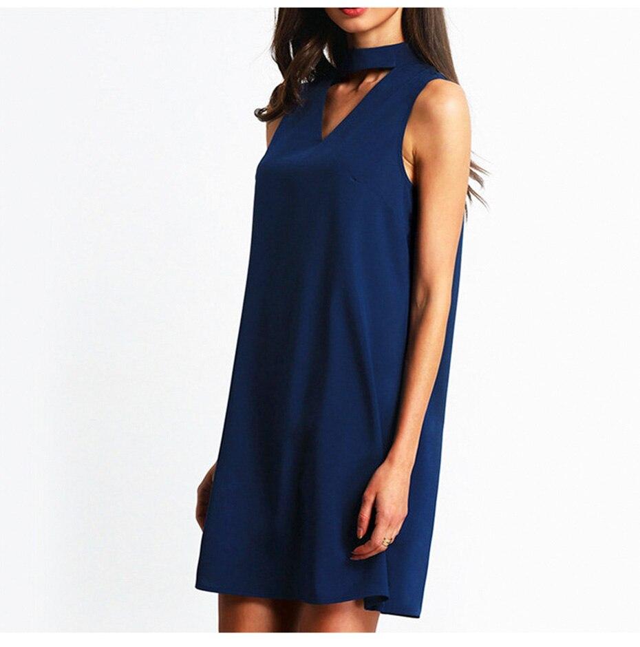 2018 summer dress women Chiffon office Dress elegant V neck Bow Sleeveless Casual dresses solid a line ladies blue Mini vestidos 5