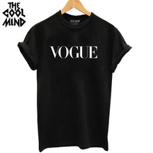 THE COOLMIND 100% cotton vogue letter printed women breathable tshirt casual women's t shirt o-neck women tops tee shirts(China)