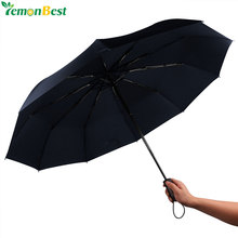Umbrella Rain Women Fully-automatic 3 Folding Umbrella 10-Rib Strong Windproof 46'' Outdoor Travel Umbrella Auto Open and Close