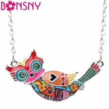 Bonsny Enamel Statement Maxi Flying Owl Choker Necklace Alloy Pendant Chain Collar 2017 New Animal Accessories Jewelry For Women(China)