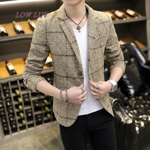 Men's Korean Slim Fashion Cotton suit suit jacket gray khaki plus size M to 3XL men's jacket men's jacket/blazer masculino
